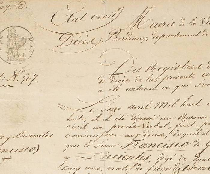 El acta de defunción de Goya es el documento más compartido del Museo del Prado