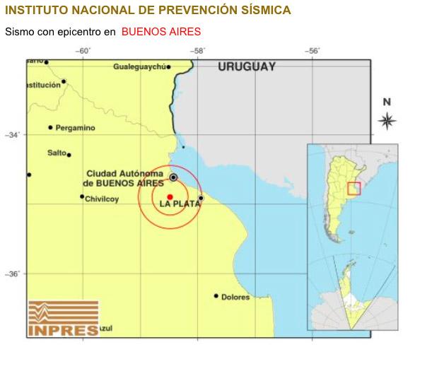 Sismo de 3.8. epicentro 32 km al sur de capital federal